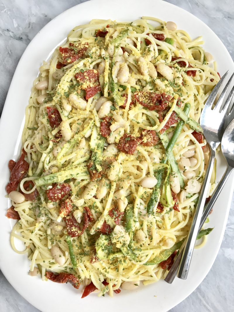 Summer Linguine W/ Shaved Asparagus, White Beans & Sun Dried Tomatoes