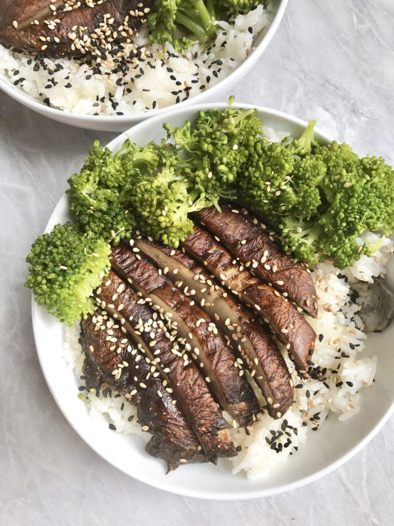 "Portobello Mushroom ""Steak"" & Broccoli Rice Bowls"