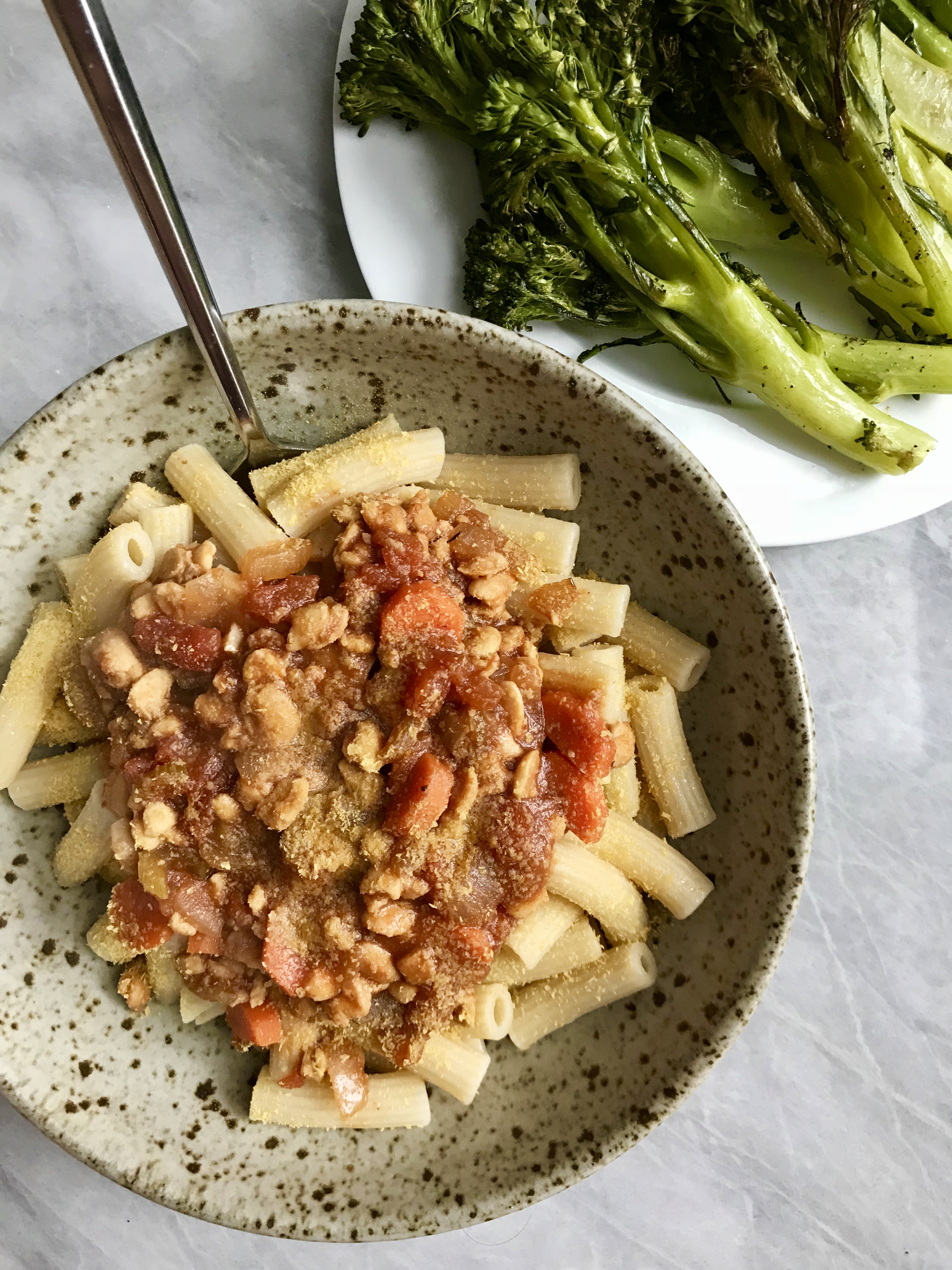 Tempeh Bolognese & Roasted Broccolini
