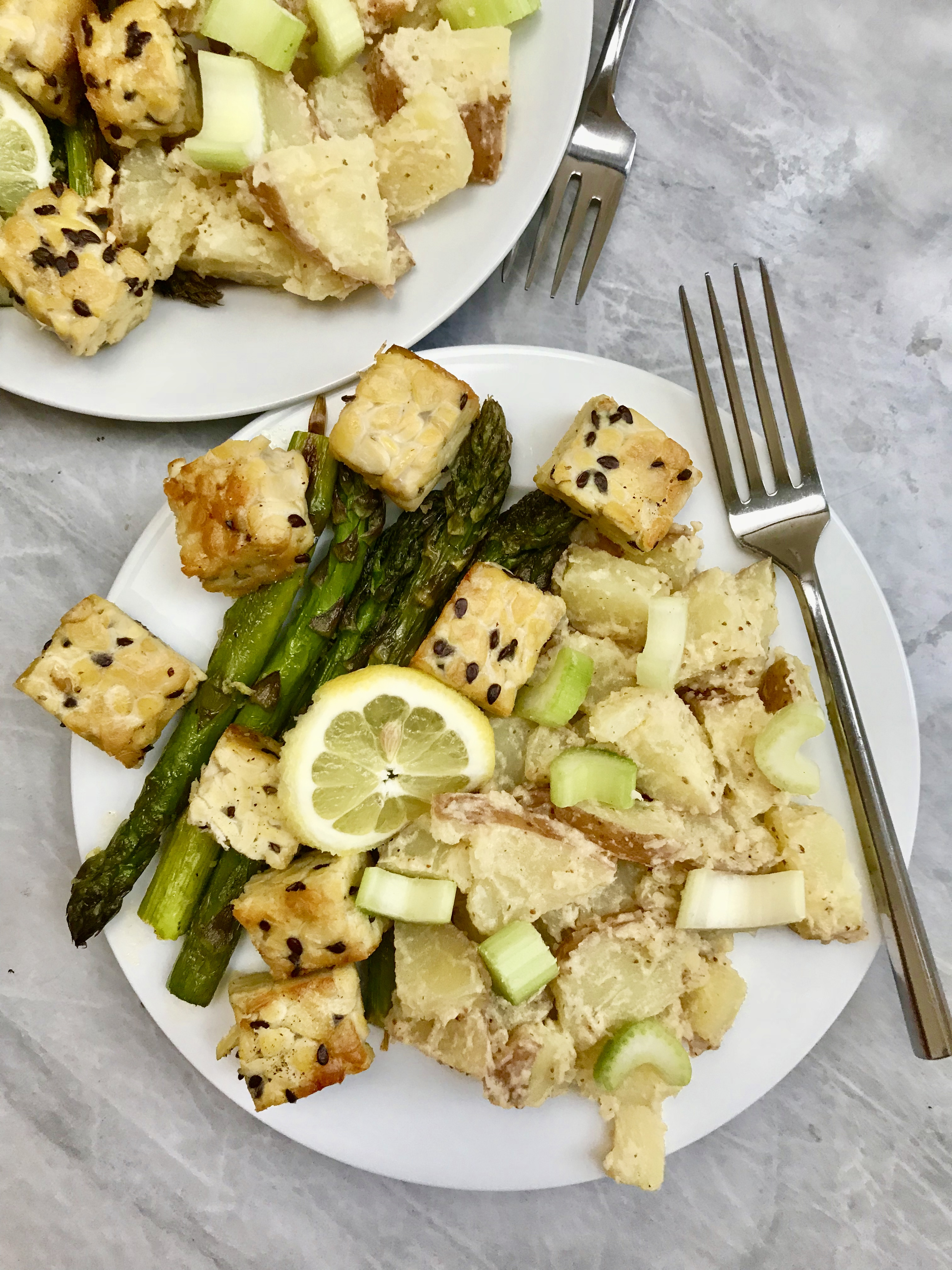 Warm Potato Salad With Roasted Asparagus, Mustard Vinaigrette & Tempeh Croutons