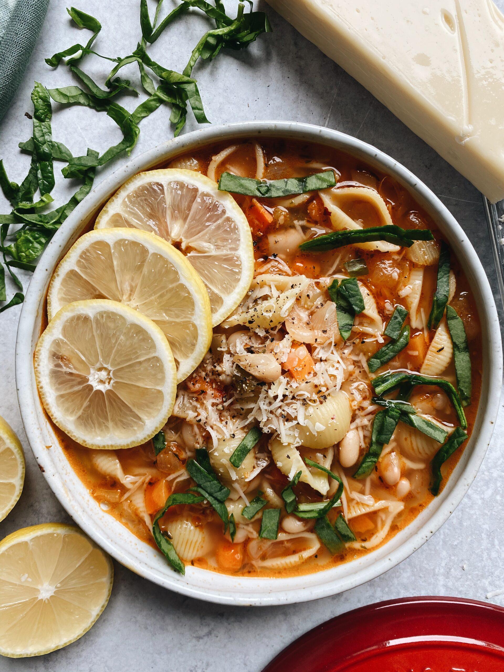 White Bean Veggie Soup W/ Noodles